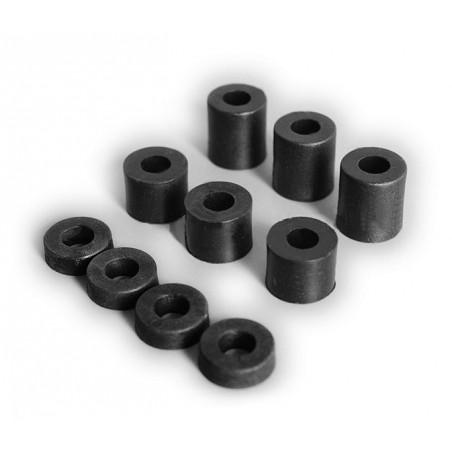 Lot de 20 entretoises en plastique (6x12x12 mm, noir)