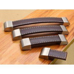 Ensemble de 4 poignées en cuir brun foncé (simple face, embout en métal)  - 2