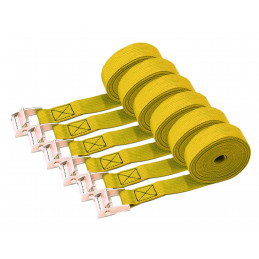 Set of 6 quick release tie down straps (3.5 meters each, yellow)  - 1