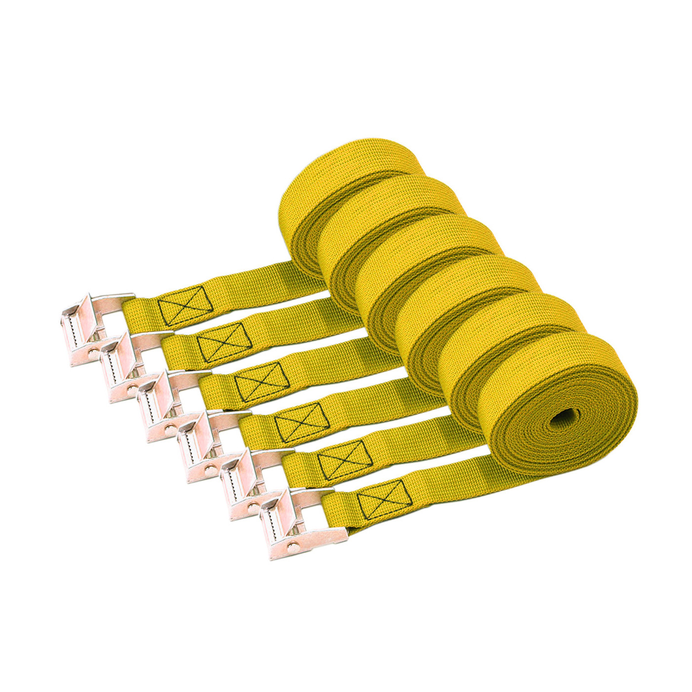 Set of 6 quick release tie down straps (3.5 meters each, yellow)