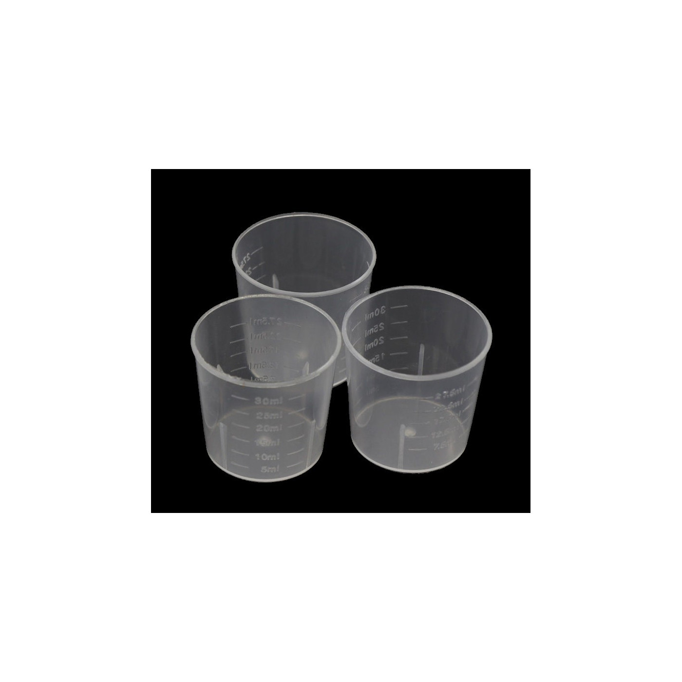 Set of 60 mini plastic measuring cups (30 ml, for frequent use)