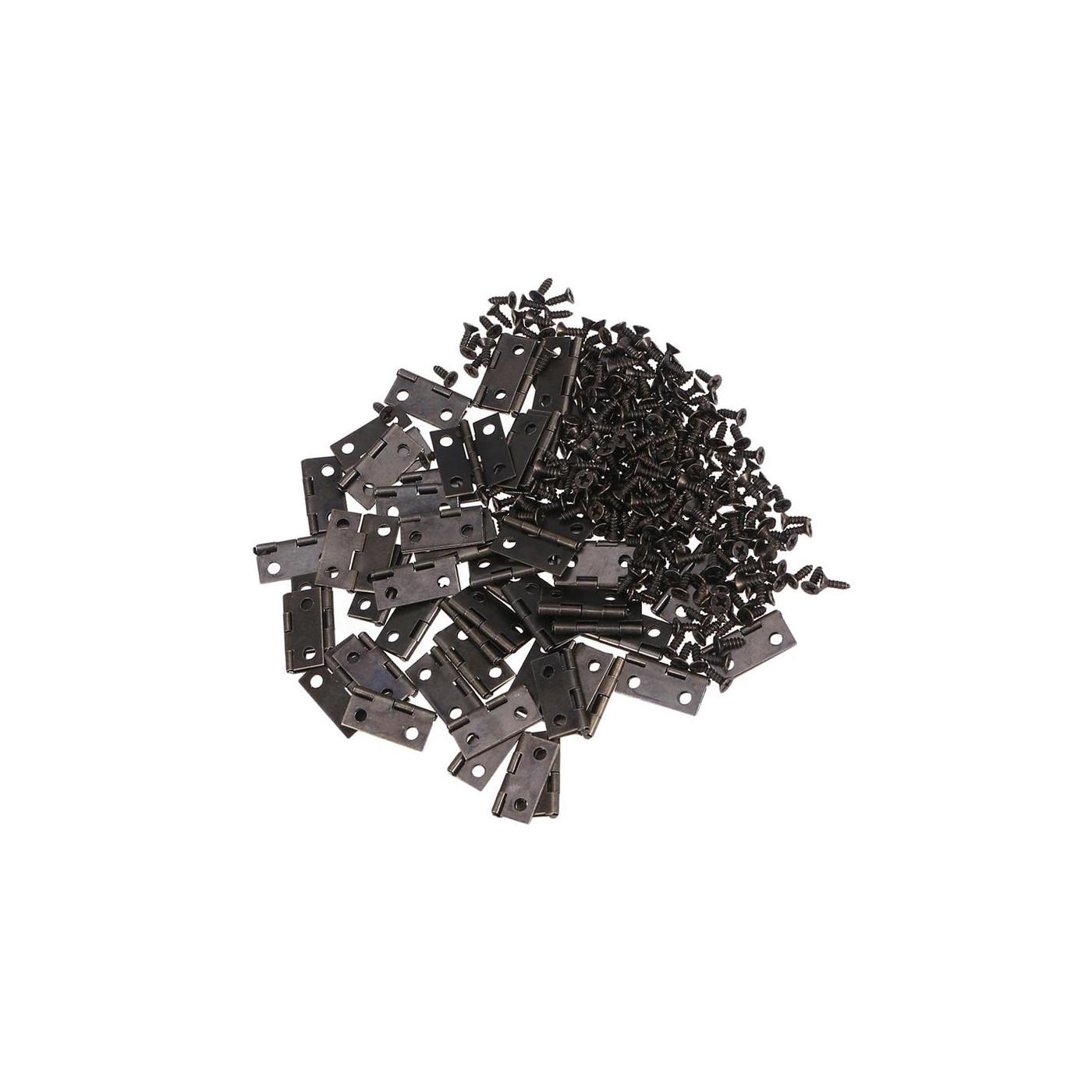 Zestaw 50 sztuk małych żelaznych zawiasów (ciemnobrązowy, 18x15 mm)  - 1