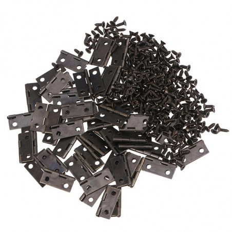 Set of 50 pieces small iron hinges (dark brown, 18x15 mm)