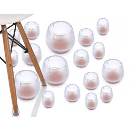 Set of 16 plastic chair leg caps (outside, felt, round, 12-16
