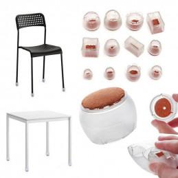 Set of 16 plastic chair leg caps (outside, felt, round, 17-21