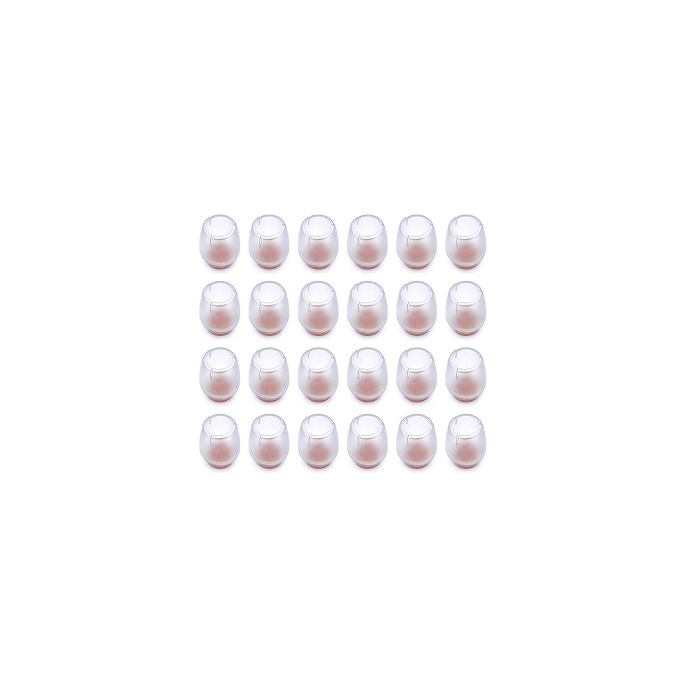 Set von 16 kunststoff Stuhlbeinkappen (Außenkappe, Filz, rund, 17-21 mm, transparent) [O-RO-17-21-T-F]  - 1