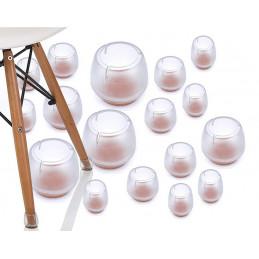 Set of 16 plastic chair leg caps (outside, felt, round, 32-37