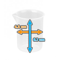 Set of 30 mini measuring cups (50 ml, transparent, PP, for