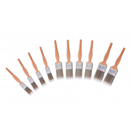 Set of 10 paint brushes (wooden handle)