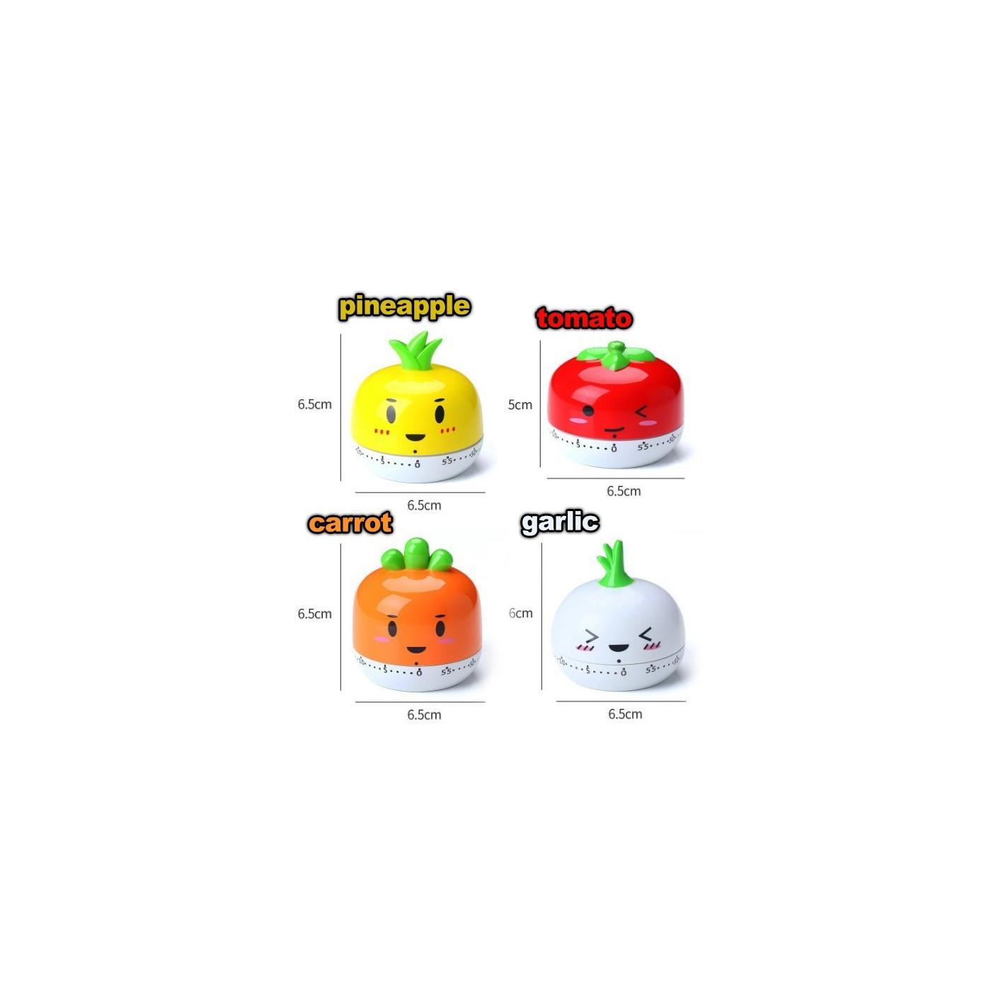 Set von 4 fröhlichen Kochtimern (Ananas, Tomate, Karotte & Knoblauch)  - 1