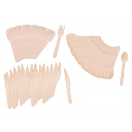 Set of nature friendly wooden cutlery (72 pieces)  - 2