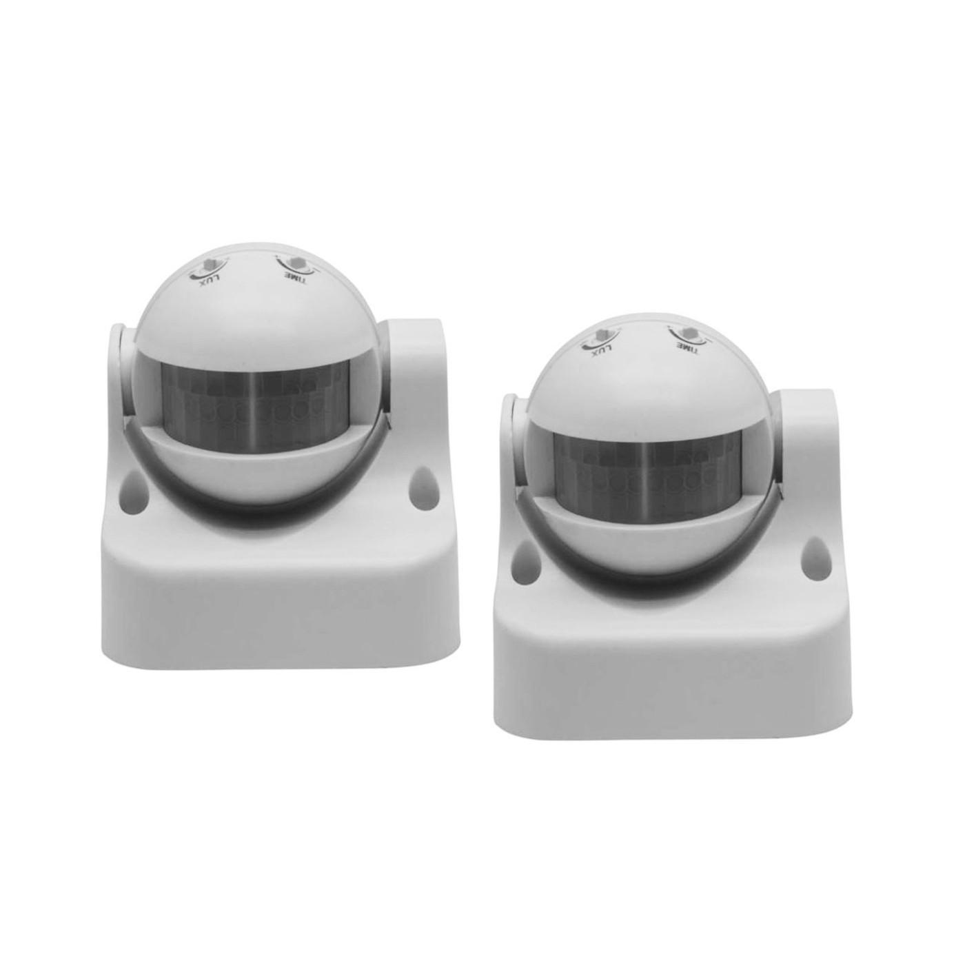 Set van 2 bewegingssensoren (opbouw, 230 volt, 50 hz, wit)