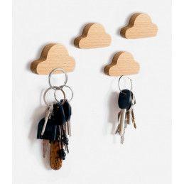 Lot de 4 porte-clés en bois (nuage, magnétique, bois de hêtre)
