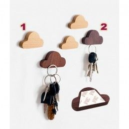 Set of 4 wooden key holders (cloud, magnetic, walnut wood)  - 2