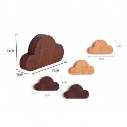 Set of 4 wooden key holders (cloud, magnetic, walnut wood)  - 3