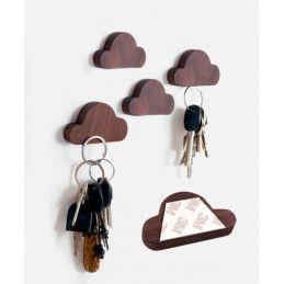 Lot de 4 porte-clés en bois (nuage, magnétique, bois de noyer)  - 1