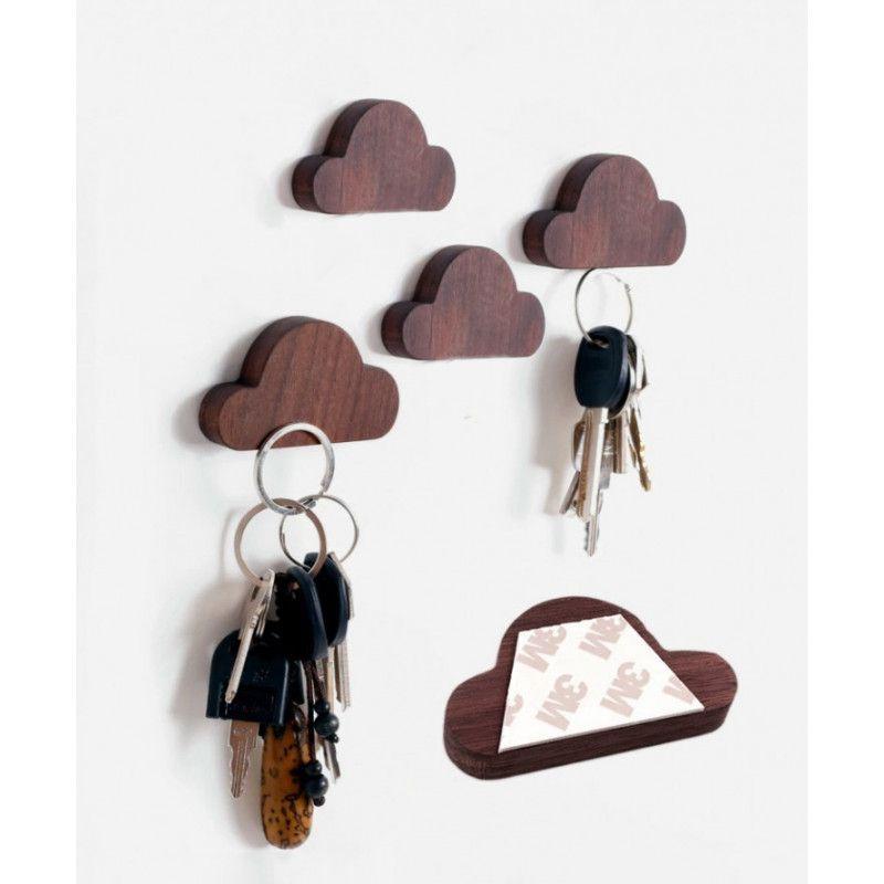 Set of 4 wooden key holders (cloud, magnetic, walnut wood)  - 1