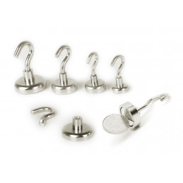 Set of 8 magnet hooks, size 2 (12 mm dia, 3.2 kg, neodymium)  - 4