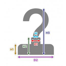 Set van 5 magneethaken, maat 5 (25 mm dia, 8 kg, neodymium)  - 2