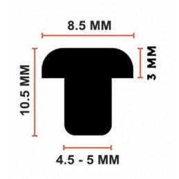 Set of 150 pvc caps, buffers, door dampers (type 2, black, 5 mm)