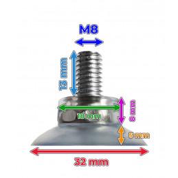 Zestaw 40 gumowych przyssawek (32 mm, z prętem M8)  - 2