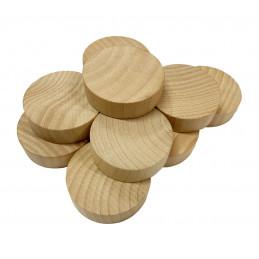 Set van 100 houten schijven (dia: 4 cm, dikte: 12 mm, schima