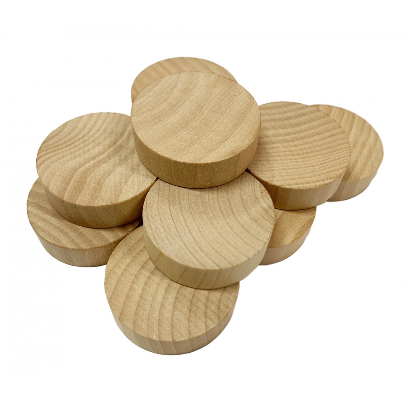 Set of 100 wooden discs (dia: 4 cm, thickness: 12 mm, schima