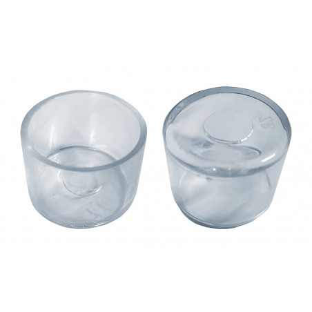 Set of 32 flexible chair leg caps (outside, round, 25 mm, transparent) [O-RO-25-T]  - 1