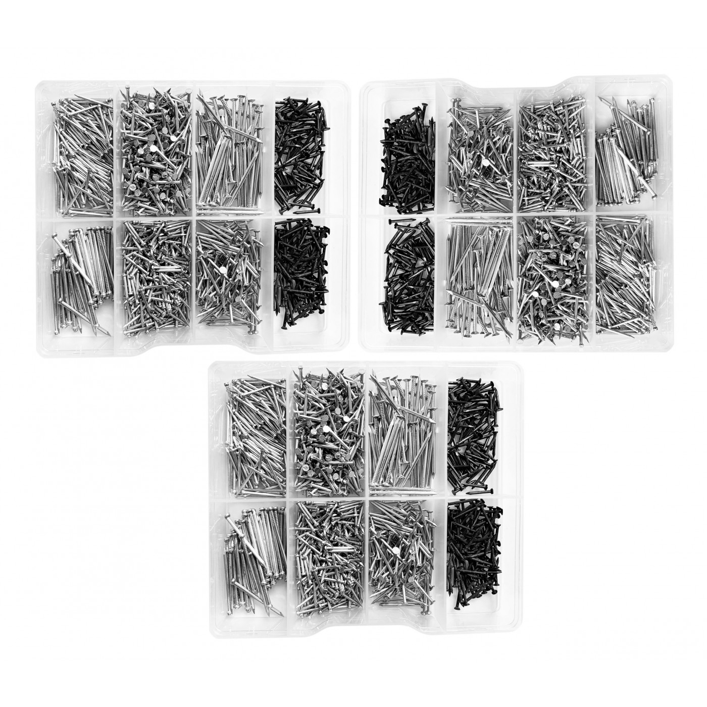 Set of 3375 small nails in plastic assortment boxes (11-30 mm)