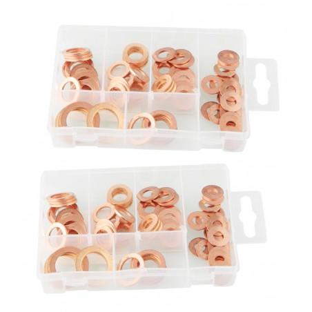 Set of 160 copper sealing rings