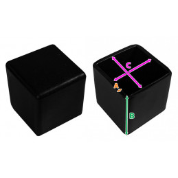 Jeu de 32 couvre-pieds de chaise en silicone (extérieur, carré, 40 mm, noir) [O-SQ-40-B]  - 3