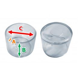 Set van 32 flexibele stoelpootdoppen (omdop, rond, 35 mm, transparant) [O-RO-35-T]  - 2