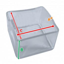 Set van 32 siliconen stoelpootdoppen (omdop, vierkant, 25 mm, transparant) [O-SQ-25-T]  - 2