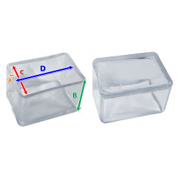 Set of 32 silicone chair leg caps (outside, rectangle, 25x38 mm, transparent) [O-RA-25x38-T]  - 2