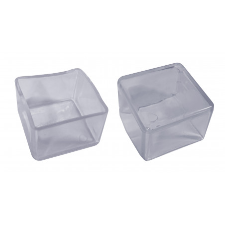 Set of 32 silicone chair leg caps (outside, square, 60 mm, transparent) [O-SQ-60-T]  - 1