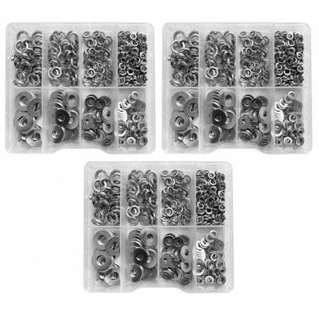 Set of 1125 washers in plastic assortment boxes  - 1