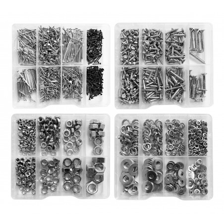 Big combi set of 2035 metal fasteners (screws, nails, washers