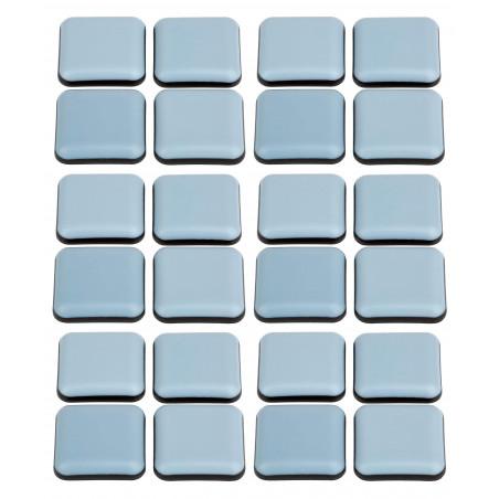 Set van 24 antikras meubelbeschermers (vierkant, 24 mm, PTFE)