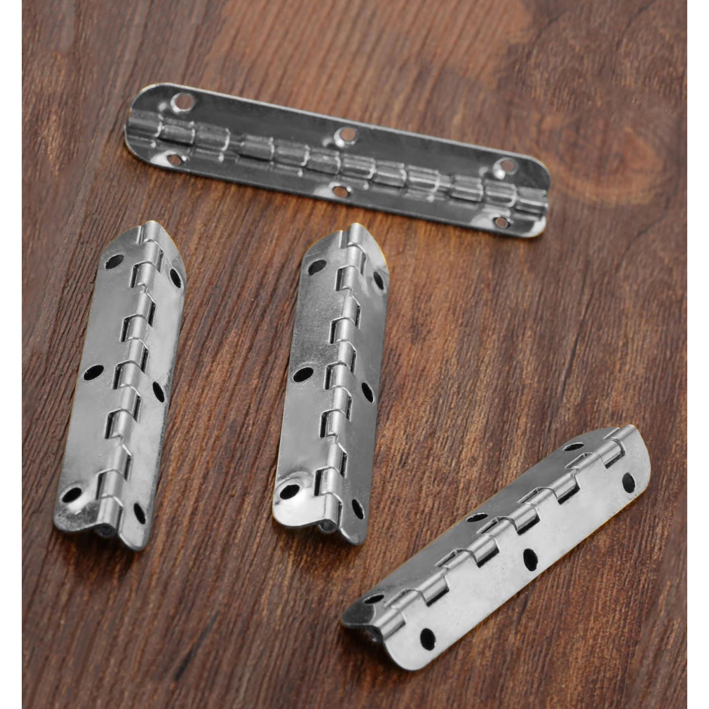 Set van 10 lange scharniertjes, (6,5 cm lang, zilver, max 90