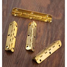 Conjunto de 10 dobradiças longas (6,5 cm de comprimento, ouro, abertura máxima de 90 graus)  - 1