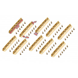 Set of 10 long hinges, (6.5 cm length, gold, max 90 degrees open)  - 2