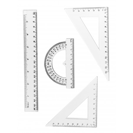 Set of 4 plastic rulers (transparent)
