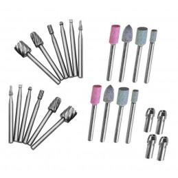 Set van 24 stuks micro (dremel/proxxon) frezen en slijpstenen  - 1