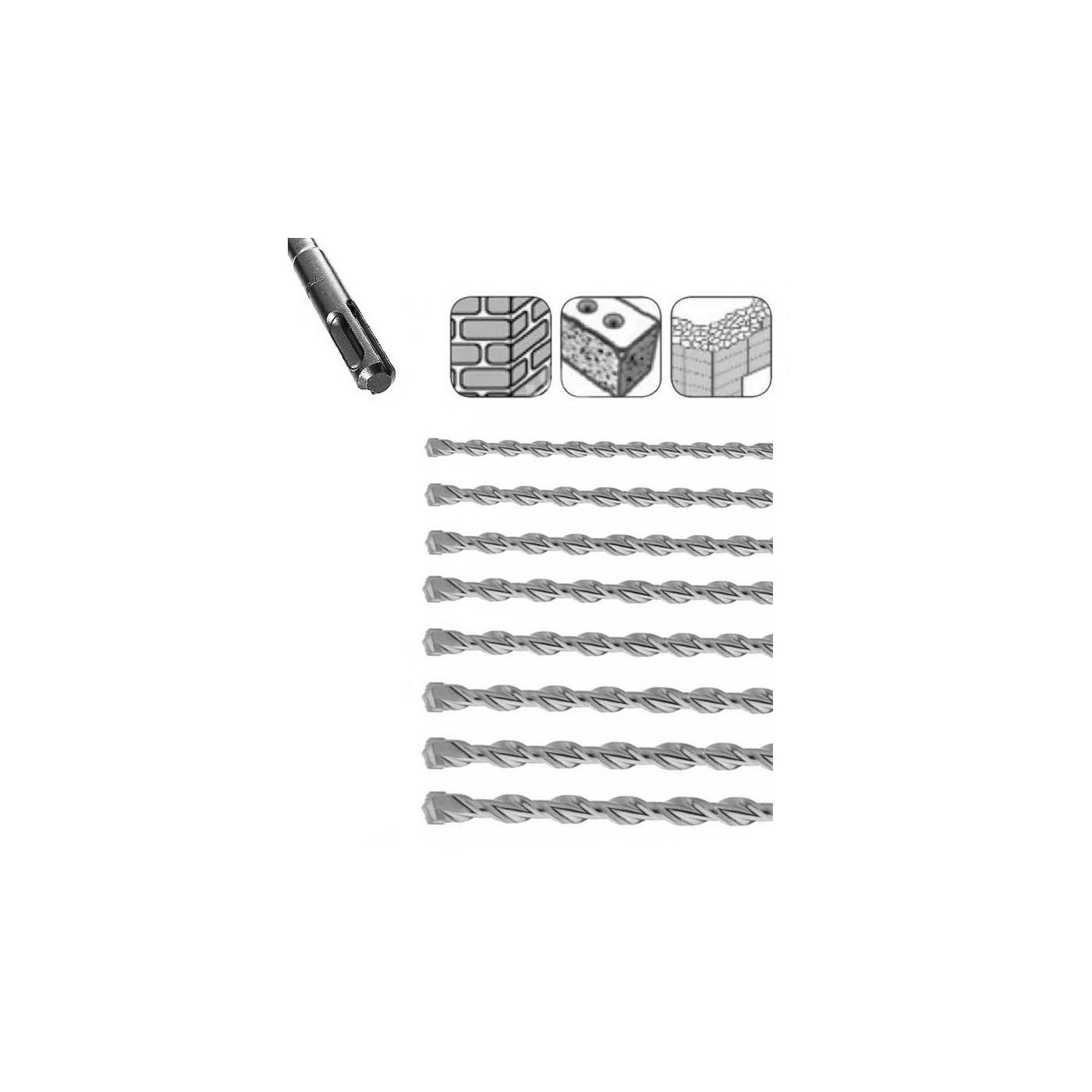 Jeu de forets à béton SDS-plus extra longs (8 pièces)