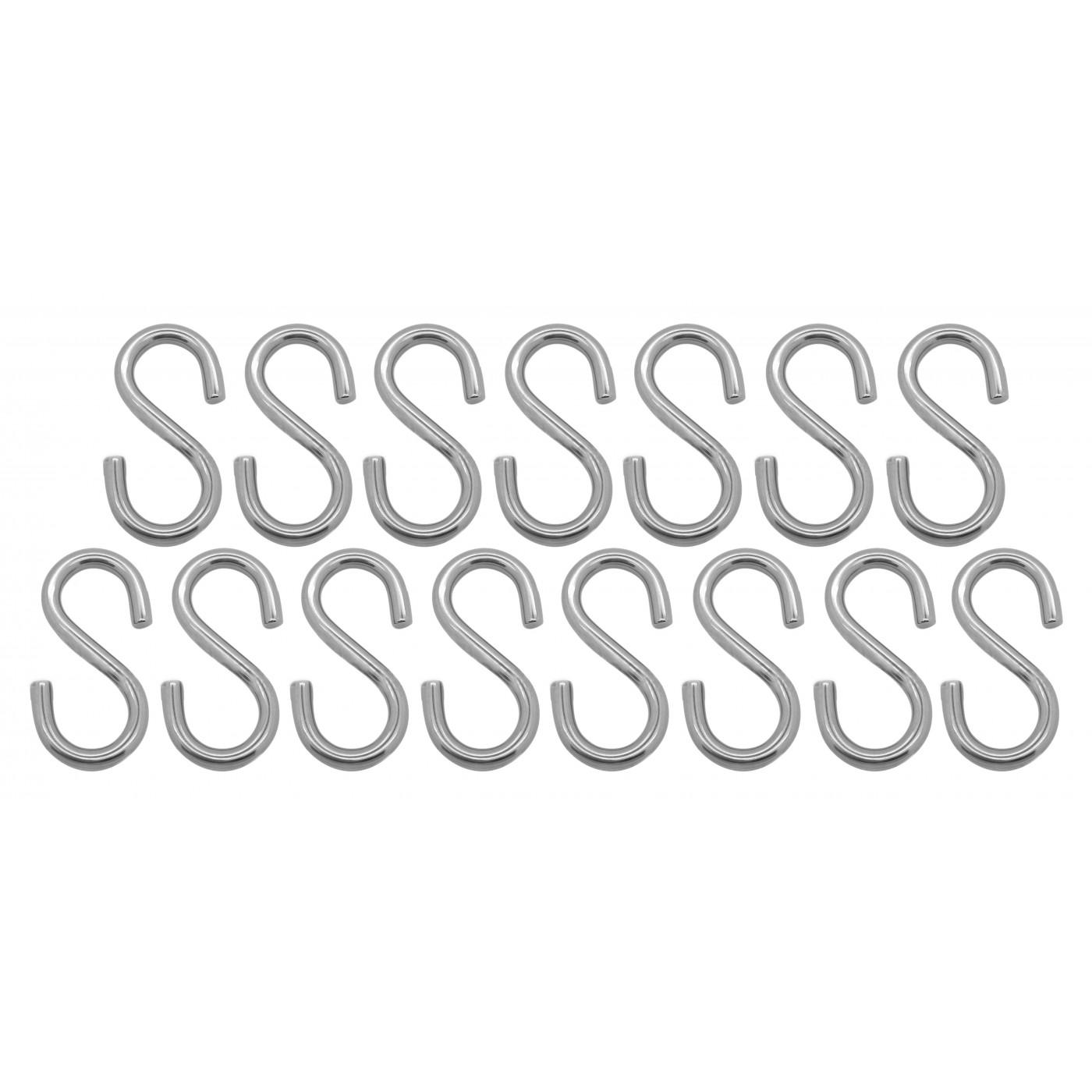 Jeu de 15 crochets en S solides en acier (74 mm, 50 kg)  - 1