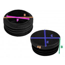 Set von 32 kunststoff Stuhlbeinkappen (Innenkappe, rund, 48 mm, schwarz) [I-RO-48-B]  - 2