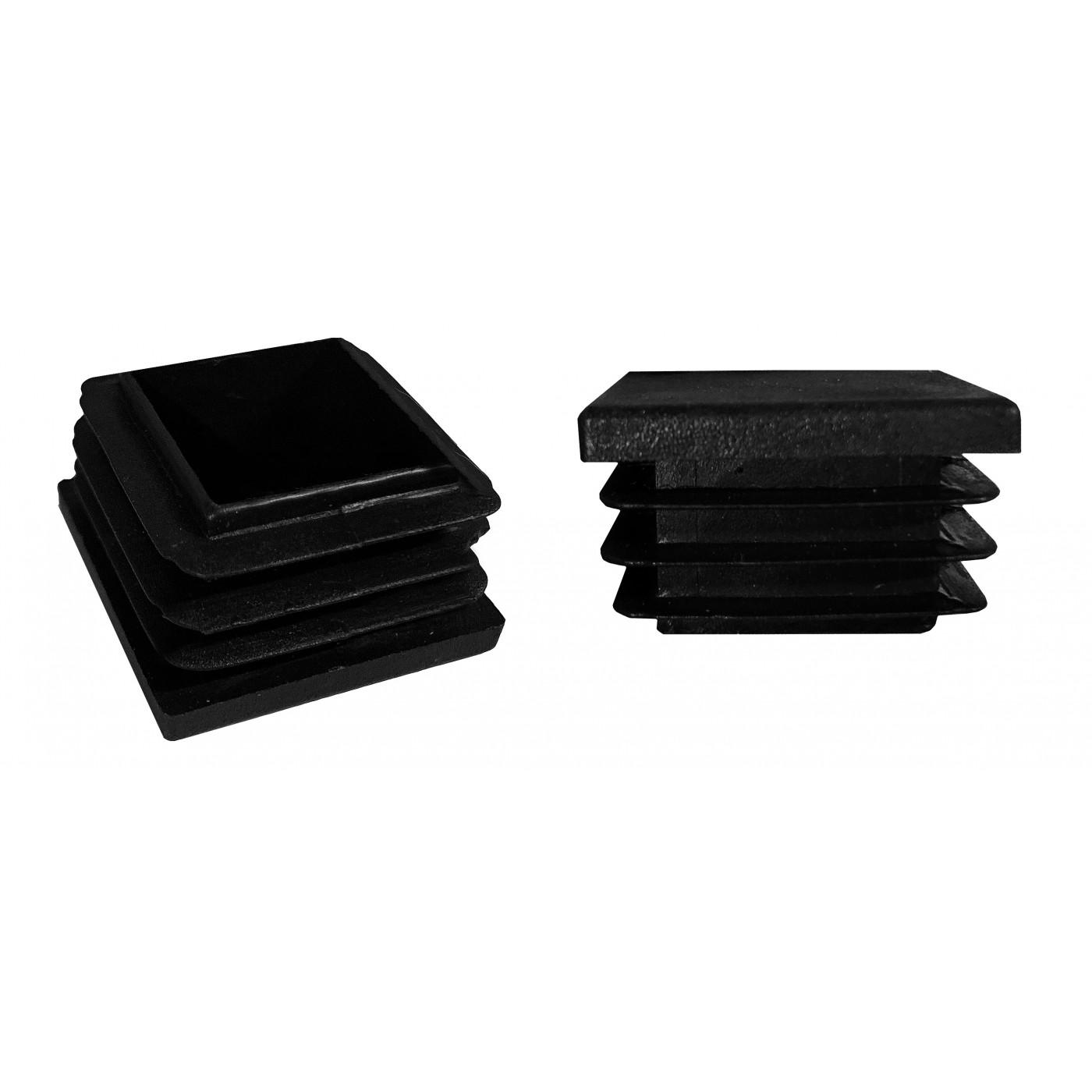 Jeu de 32 couvre-pieds de chaise en plastique (intérieur, carré, 40x40 mm, noir) [I-SQ-40x40-B]  - 1