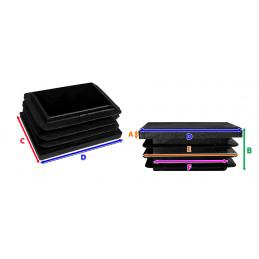 Set von 32 kunststoff Stuhlbeinkappen (Innenkappe, Rechteck, 25x38 mm, schwarz) [I-RA-25x38-B]  - 3