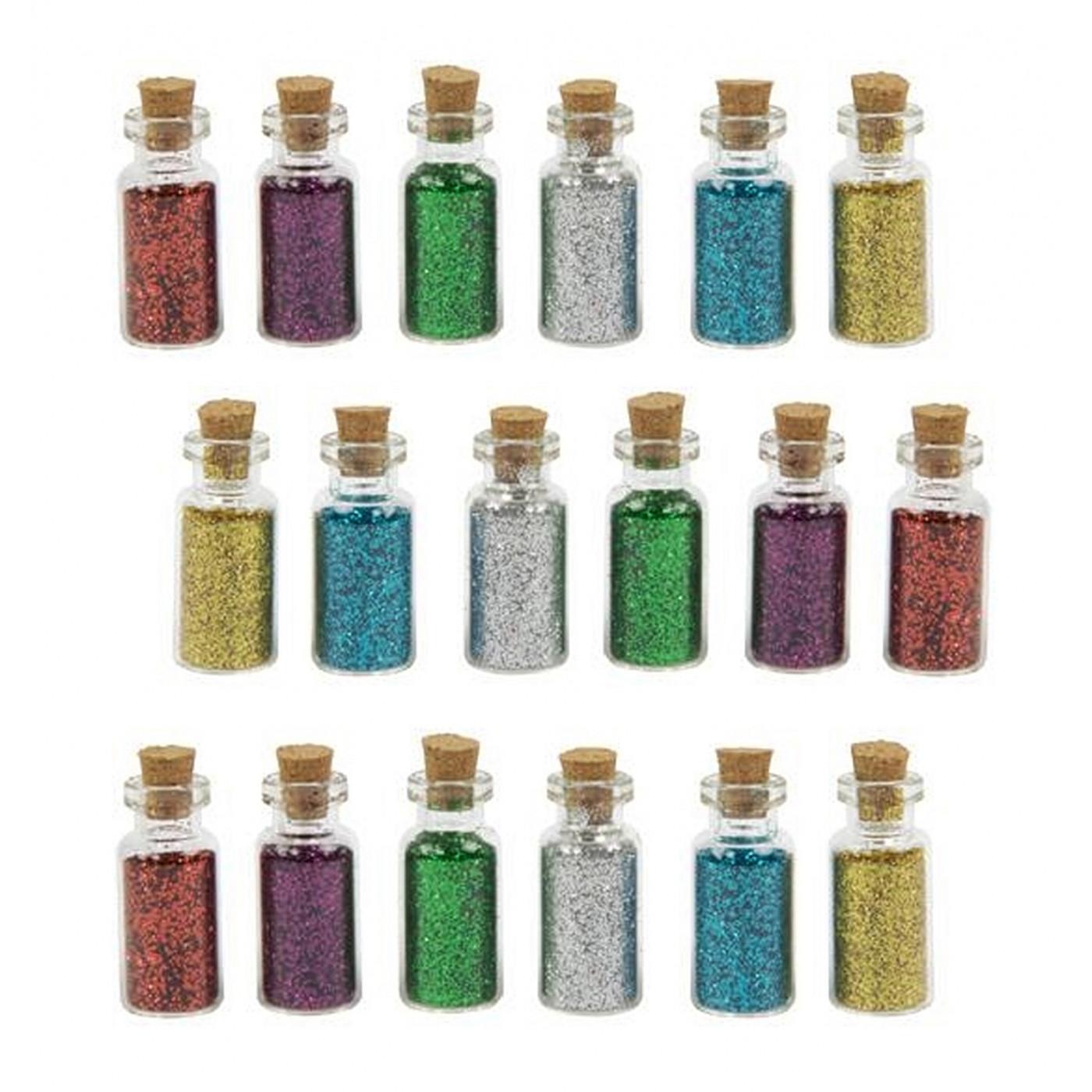 Zestaw 18 mini buteleczek z brokatem dekoracyjnym (typ 1)  - 1