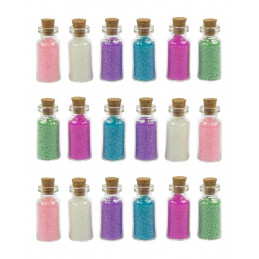 Zestaw 18 mini butelek z piaskiem dekoracyjnym (typ 2)  - 1
